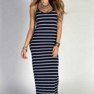 Gap navy blue/white striped maxi dress